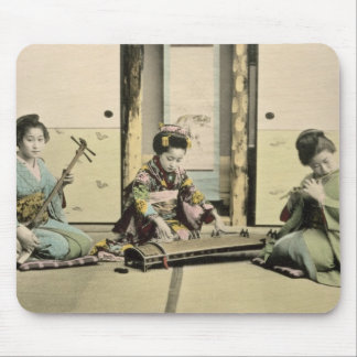Japanese girls playing the flute, 'koto' and samis mouse mat