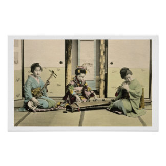 Japanese girls playing the flute, 'koto' and samis poster