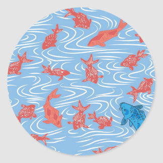Japanese Goldfish and Carp Classic Round Sticker