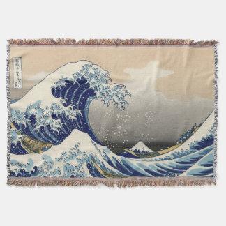 Japanese Great Wave off Kanagawa Throw Blanket