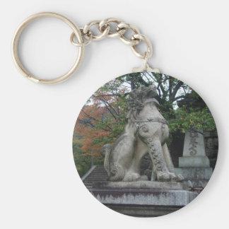 Japanese Guardian Lion Temple Statue Keychain