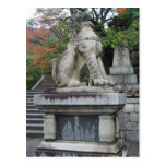 Japanese Guardian Lion Temple Statue Postcard