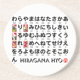 Japanese Hiragana & Katakana table(Alphabet) Beverage Coasters