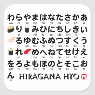 Japanese Hiragana table(Sushi) Square Sticker