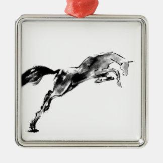 Japanese horse samurai art equestrian sumi Silver-Colored square decoration