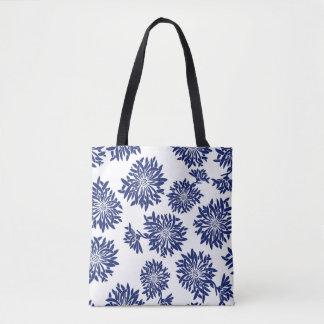 Japanese Indigo Dahlia Kimono Design Print Tote Bag