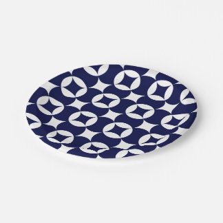 Japanese interlocking circles in Delft Blue Paper Plate