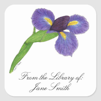 Japanese Iris Blossom Book Plate Square Sticker