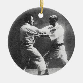 Japanese Judoka Jigoro Kano Kyuzo Mifue Judo Round Ceramic Decoration