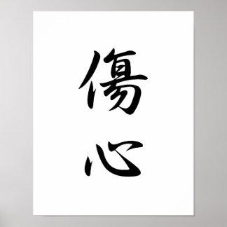 Japanese Kanji for Broken Heart - Shoushin Poster