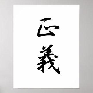 Japanese Kanji for Justice - Seigi Poster