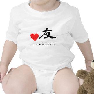 "Japanese Kanzi Kanji -""Friend"" Baby Bodysuits"