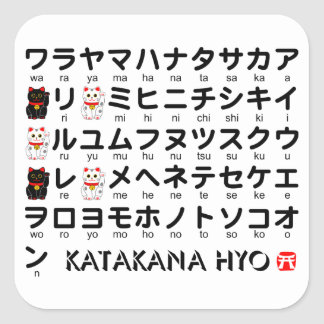 Japanese Katakana(Alphabet) table Square Sticker