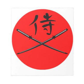 Japanese Katana and Samurai Kanji Notepad