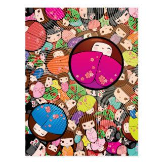 Japanese Kawaii Kokeshi Dolls Postcard