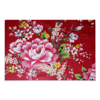 Japanese Kimono Flowers Poster