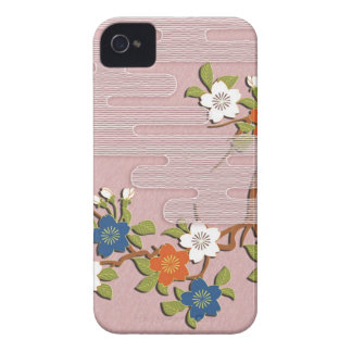 Japanese kimono pattern - mist and cherry blossoms iPhone 4 cases