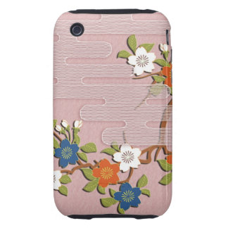 Japanese kimono pattern - mist and cherry blossoms iPhone 3 tough covers