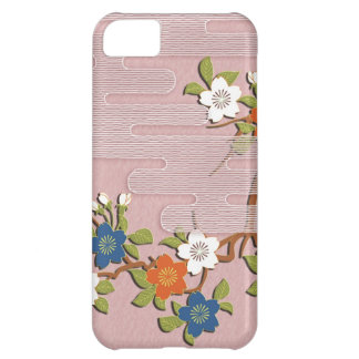 Japanese kimono pattern - mist and cherry blossoms iPhone 5C case