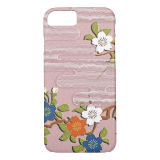 Japanese kimono pattern - mist and cherry blossoms iPhone 8/7 case