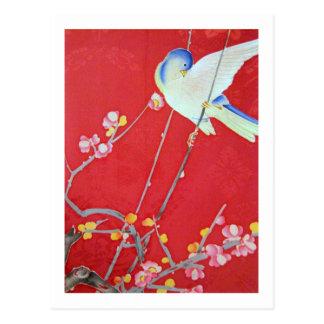 Japanese KIMONO Textile, Bluebird Postcard