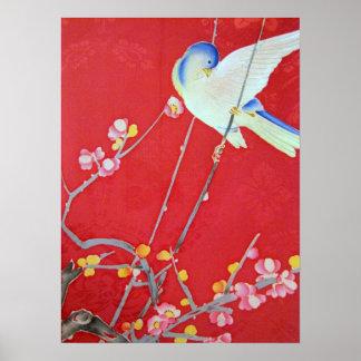 Japanese KIMONO Textile, Bluebird Poster