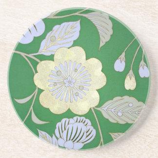 Japanese KIMONO Textile, Floral Pattern Coaster