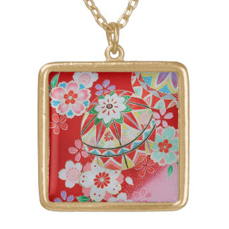 Japanese KIMONO Textile, Floral Pattern Gold Plated Necklace