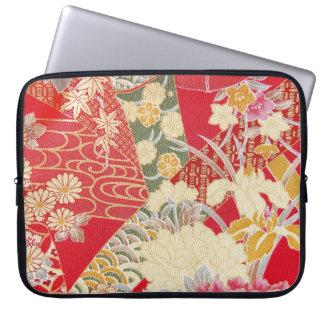 Japanese KIMONO Textile, Floral Pattern Laptop Sleeve