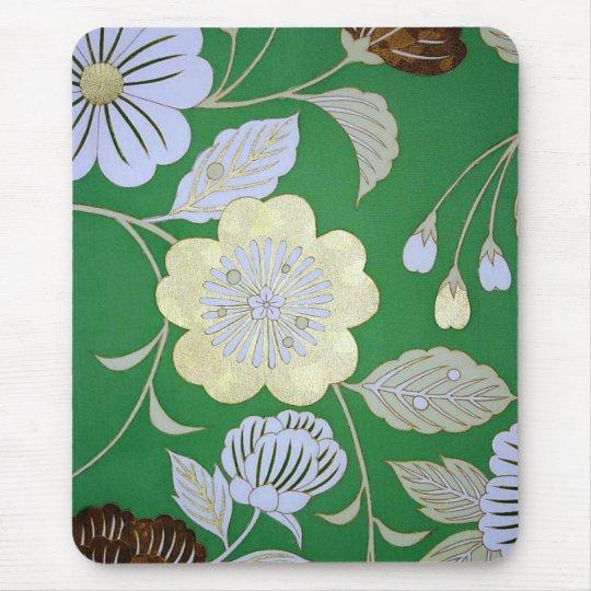 Japanese KIMONO Textile, Floral Pattern Mouse Mat