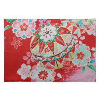 Japanese KIMONO Textile, Floral Pattern Placemat