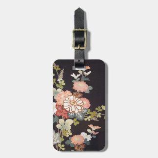 Japanese KIMONO Textile, Floret Pattern Luggage Tag