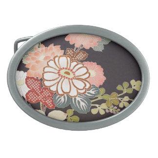 Japanese KIMONO Textile, Floret Pattern Oval Belt Buckle