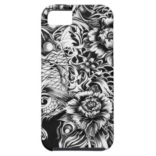 Japanese koi and lotus flowers tattoo style art iphone 5 for Tattoo artist iphone cases