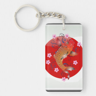 Japanese koi carp Double-Sided rectangular acrylic key ring