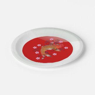 Japanese koi carp paper plate