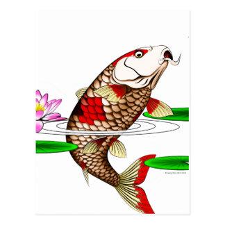 Japanese Koi Fish Carp Water Lily Postcard