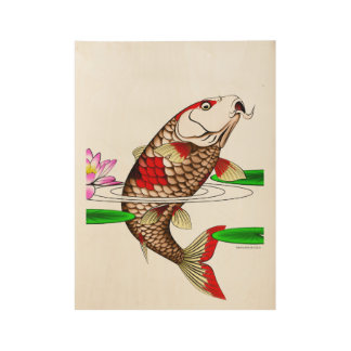 Japanese Koi Fish Carp Water Lily Wood Poster