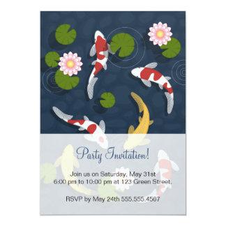 Japanese Koi Fish Pond Party 13 Cm X 18 Cm Invitation Card