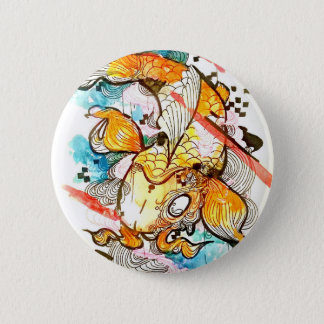 Japanese koi fish, watercolor art, aquatic art 6 cm round badge