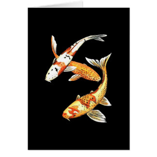 Japanese Koi Goldfish on Black Greeting Card