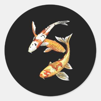 Japanese Koi Goldfish on Black Round Sticker