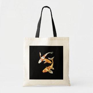 Japanese Koi Goldfish on Black Tote Bag