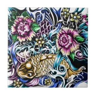 Japanese Koi Tattoo Design Products Small Square Tile