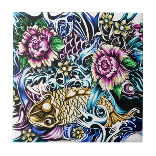 Japanese Koi Tattoo Design Products Tile