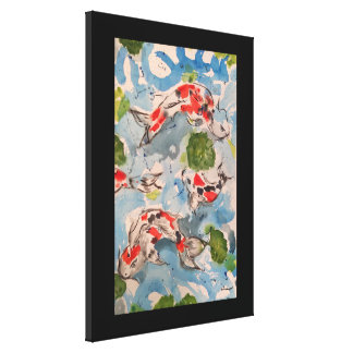 Japanese Koi Watercolor Print Canvas 18x24