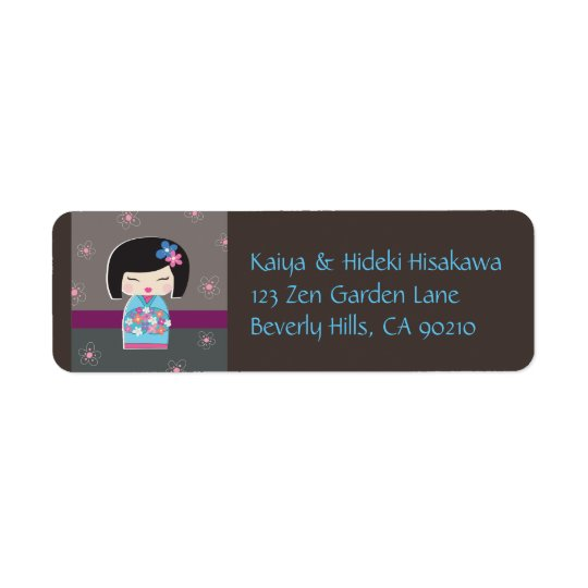 Japanese Kokeshi Doll Address Labels