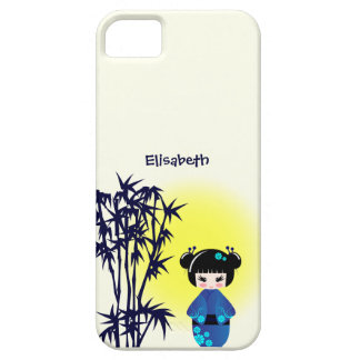Japanese kokeshi doll at bamboo during sunrise iPhone 5 case