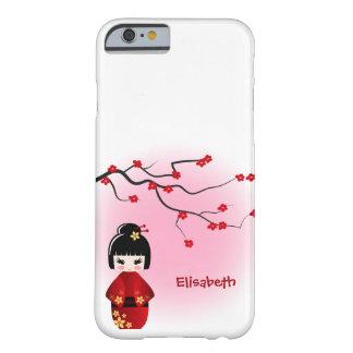 Japanese kokeshi doll at sakura blossoms barely there iPhone 6 case