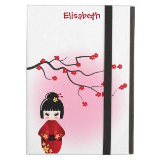 Japanese kokeshi doll at sakura blossoms case for iPad air